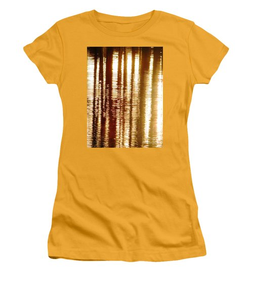 Women's T-Shirt (Junior Cut) featuring the photograph Trees On Rippled Water by Melissa Stoudt