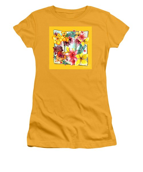 Women's T-Shirt (Athletic Fit) featuring the photograph Tropicana On Yellow By Kaye Menner by Kaye Menner