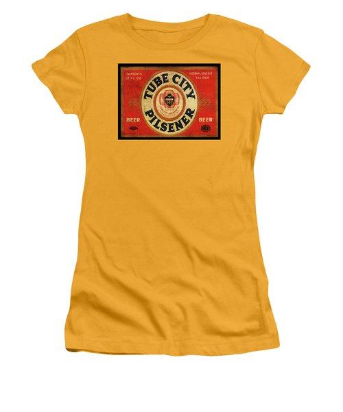 Women's T-Shirt (Junior Cut) featuring the digital art Tube City Pilsner by Greg Sharpe