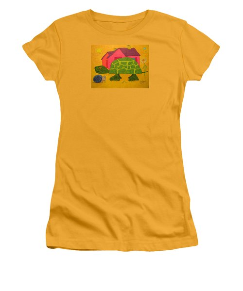 Turtle In Neighborhood Women's T-Shirt (Athletic Fit)