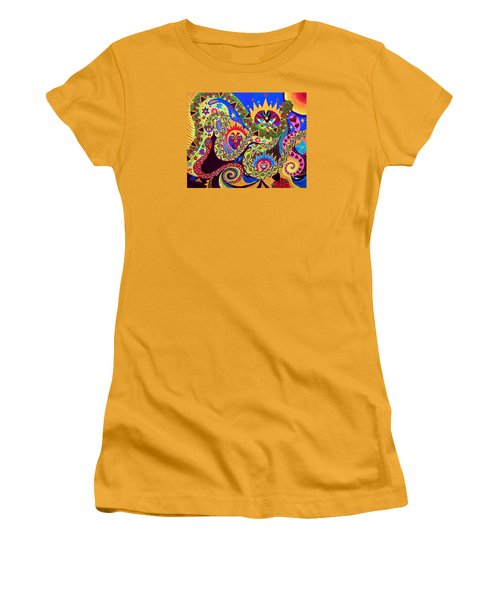 Women's T-Shirt (Junior Cut) featuring the painting Serpent's Dance by Marina Petro