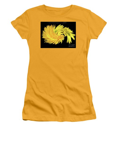 Women's T-Shirt (Athletic Fit) featuring the digital art Twisted Yellow Daisies by Merton Allen
