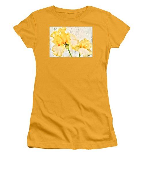 Two Yellow Irises Women's T-Shirt (Junior Cut) by Marsha Heiken