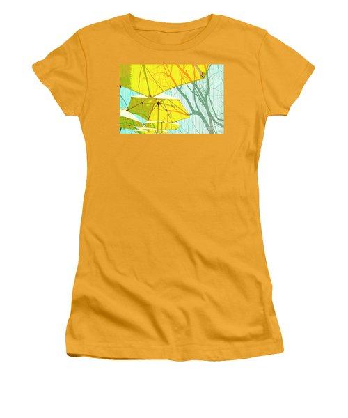 Umbrellas Yellow Women's T-Shirt (Junior Cut) by Deborah Nakano