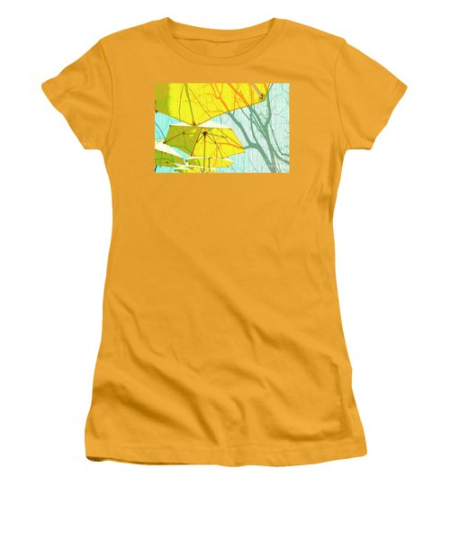 Umbrellas Yellow Women's T-Shirt (Athletic Fit)