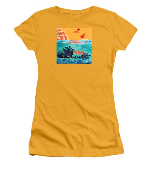 Bright Coral Reef Women's T-Shirt (Athletic Fit)
