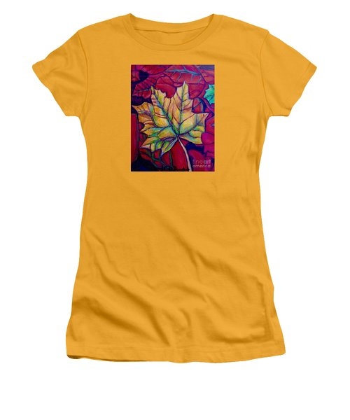 Women's T-Shirt (Junior Cut) featuring the painting Understudy Of A Turning Maple Leaf In The Fall by Kimberlee Baxter