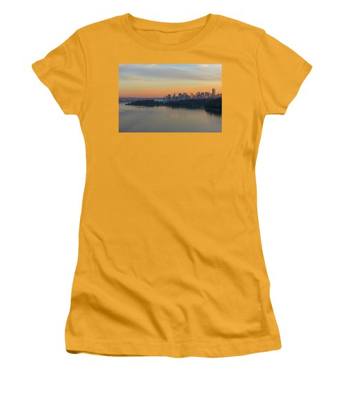 Vancouver Bc Skyline And Stanley Park At Sunset Women's T-Shirt (Athletic Fit)