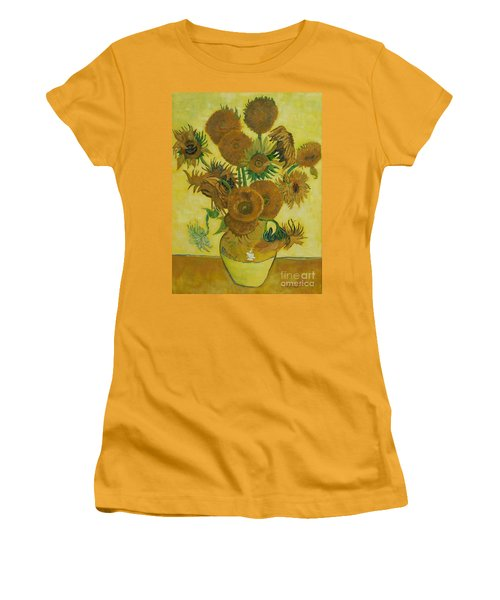 Vase Withfifteen Sunflowers Women's T-Shirt (Athletic Fit)