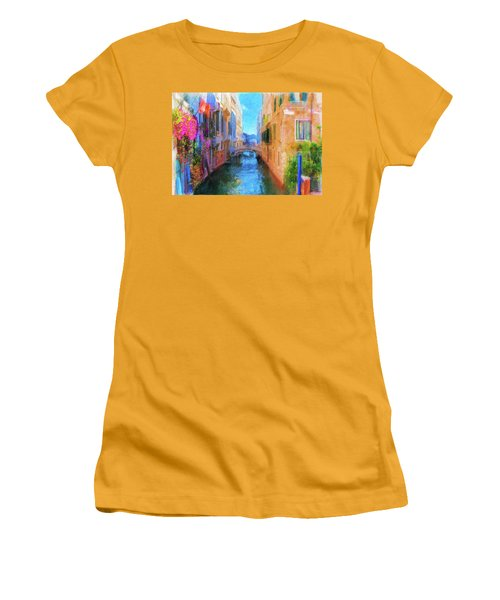 Venice Canal Painting Women's T-Shirt (Junior Cut) by Michael Cleere