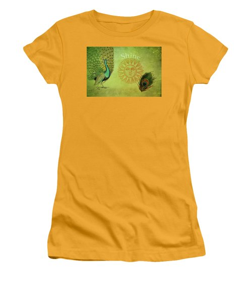 Women's T-Shirt (Junior Cut) featuring the digital art Vintage Peacock Art by Peggy Collins