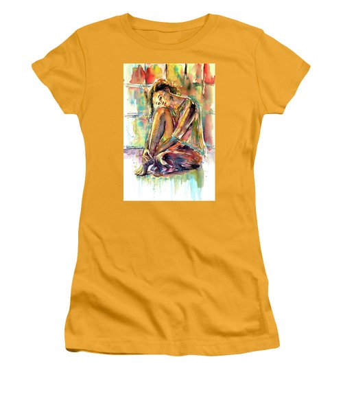 Women's T-Shirt (Junior Cut) featuring the painting Waiting For You by Kovacs Anna Brigitta