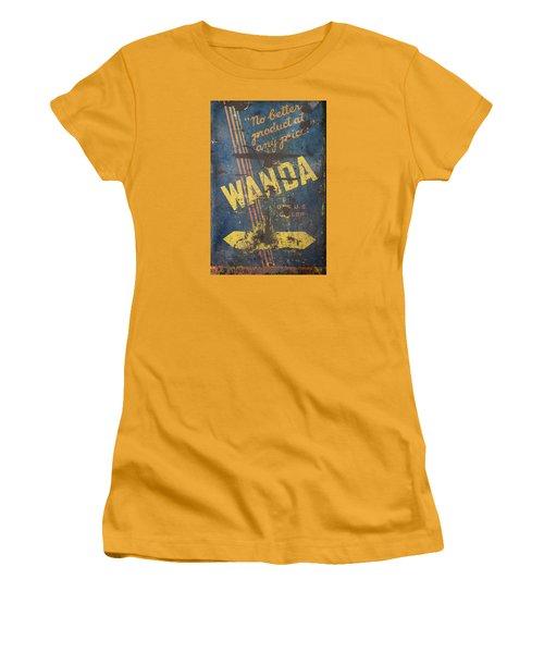 Women's T-Shirt (Junior Cut) featuring the photograph Wanda Motor Oil Vintage Sign by Christina Lihani