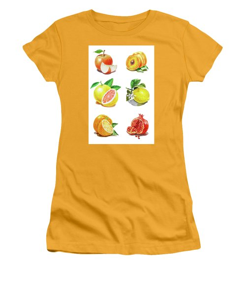 Watercolor Food Illustration Fruits Women's T-Shirt (Athletic Fit)