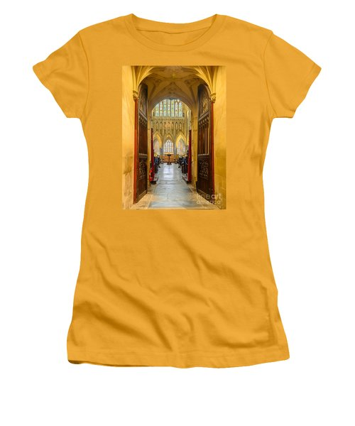 Women's T-Shirt (Junior Cut) featuring the photograph Wellscathedral, The Quire by Colin Rayner