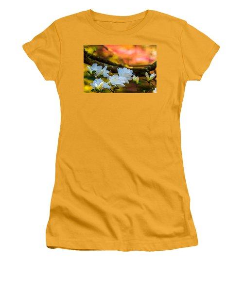White Azaleas In The Garden Women's T-Shirt (Junior Cut) by John Harding