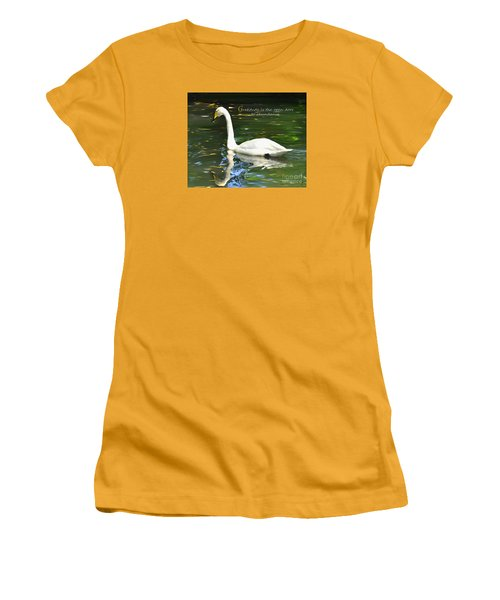 Whooper Swan Gratitude Women's T-Shirt (Junior Cut) by Diane E Berry