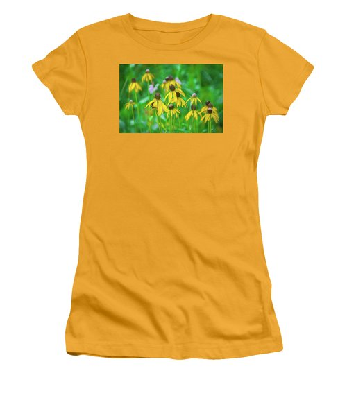Women's T-Shirt (Athletic Fit) featuring the photograph Wildflowers Of Yellow by Bill Pevlor