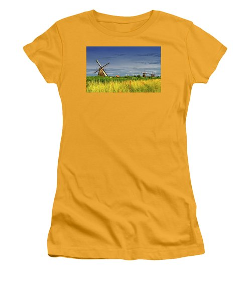 Windmills In Kinderdijk, Holland, Netherlands Women's T-Shirt (Athletic Fit)