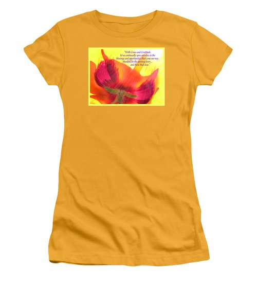 With Grace And Gratitude - Poppy From The Garden With Text Women's T-Shirt (Athletic Fit)