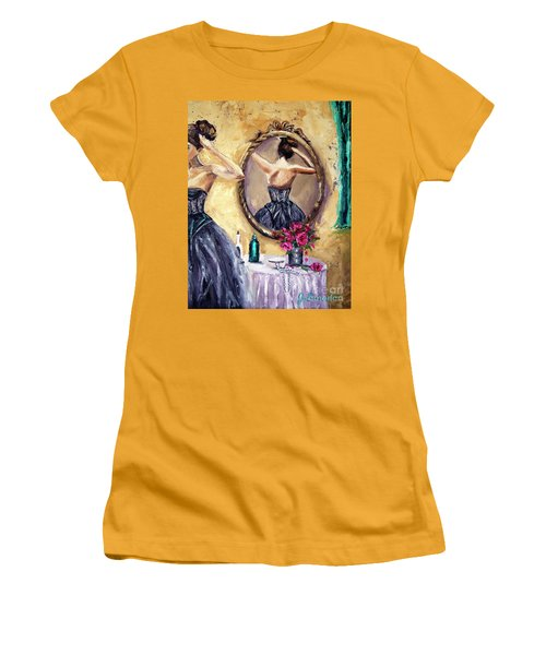 Women's T-Shirt (Junior Cut) featuring the painting Woman In Mirror by Jennifer Beaudet