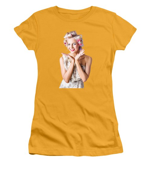 Woman With Rollers In Hair Women's T-Shirt (Junior Cut) by Jorgo Photography - Wall Art Gallery