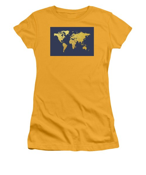 World Map Gold Foil Women's T-Shirt (Athletic Fit)