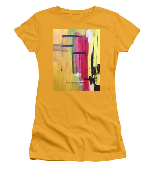 Yellow Abstract Women's T-Shirt (Athletic Fit)