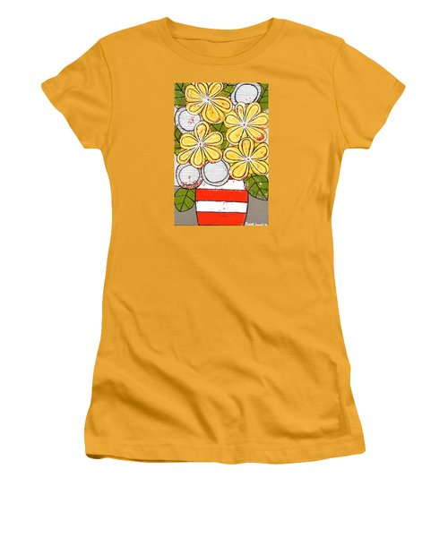 Yellow And White Flowers Women's T-Shirt (Athletic Fit)