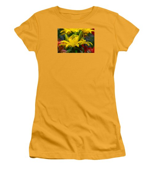 Yellow Day Lily 20120614_55a Women's T-Shirt (Junior Cut) by Tina Hopkins