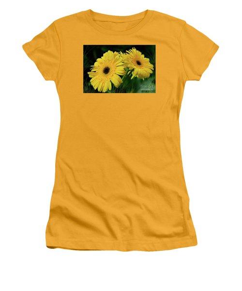 Women's T-Shirt (Junior Cut) featuring the photograph Yellow Gerbera Daisies By Kaye Menner by Kaye Menner