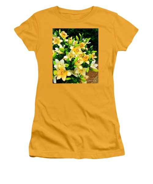 Women's T-Shirt (Junior Cut) featuring the photograph Yellow Lilies 2 by Randall Weidner