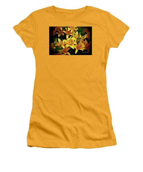 Women's T-Shirt (Junior Cut) featuring the photograph Yellow Lilies by Joann Copeland-Paul