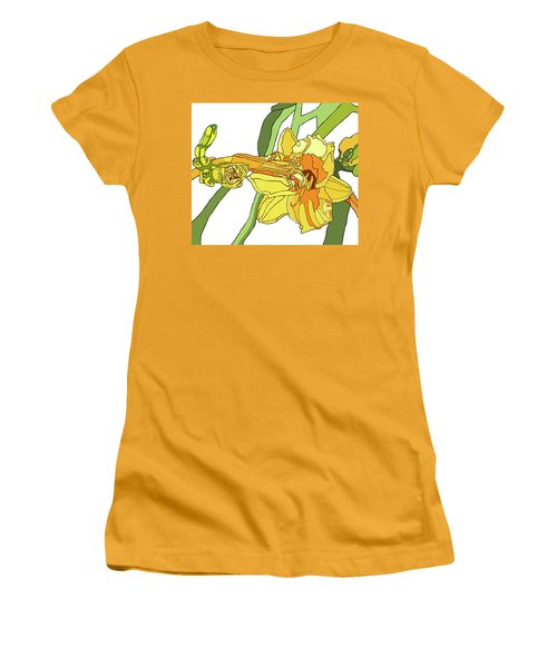 Yellow Lily And Bud, Graphic Women's T-Shirt (Junior Cut) by Jamie Downs