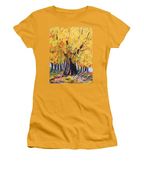 Women's T-Shirt (Junior Cut) featuring the painting Yellow Maple Wet Trunk by John Williams