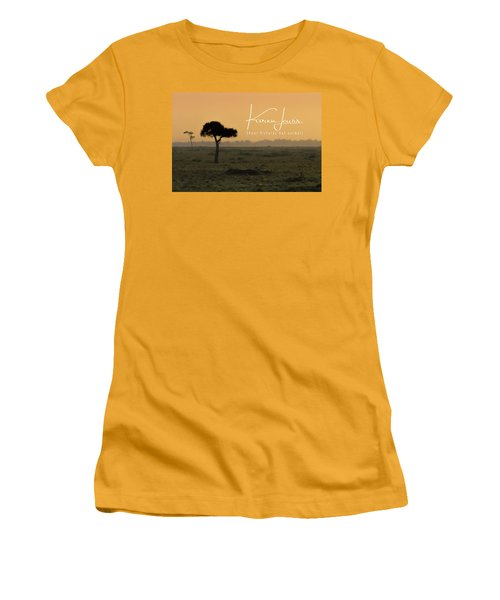 Women's T-Shirt (Junior Cut) featuring the photograph Yellow Mara Dawn by Karen Lewis