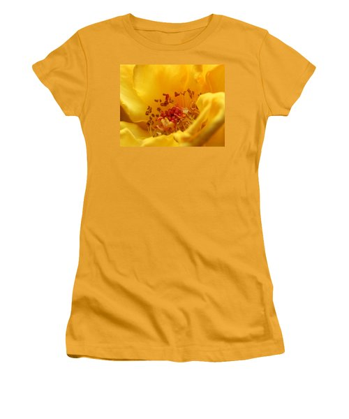 Women's T-Shirt (Junior Cut) featuring the photograph Yellow Mini Macro by Marna Edwards Flavell