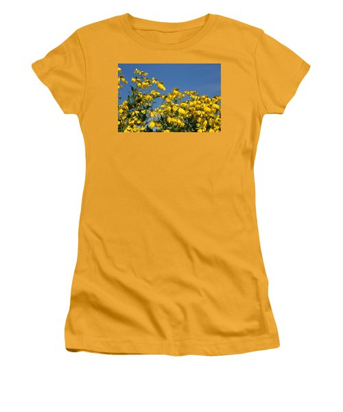 Yellow On Blue Women's T-Shirt (Junior Cut) by Lois Lepisto