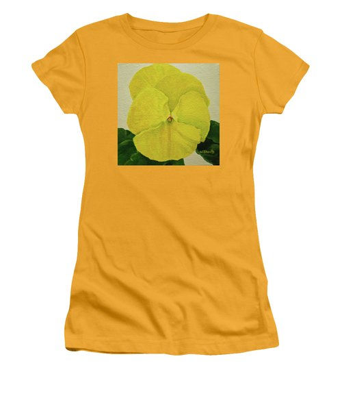 Yellow Pansy Women's T-Shirt (Junior Cut) by Wendy Shoults