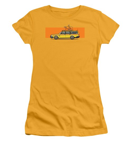 Yellow Volvo 245 Wagon With Roof Rack And Vintage Bicycle Women's T-Shirt (Athletic Fit)