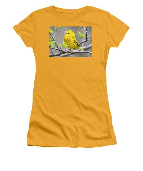 Yellow Warbler  Women's T-Shirt (Junior Cut) by Ricky L Jones