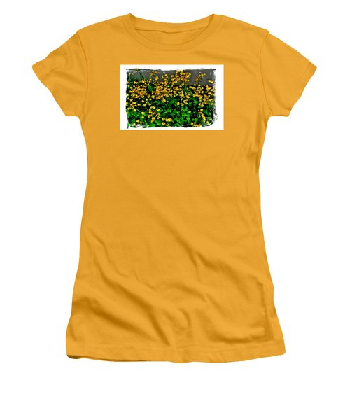 Yellow Wildflowers Women's T-Shirt (Junior Cut) by Marsha Heiken