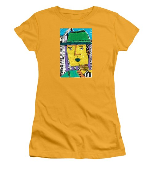 Women's T-Shirt (Junior Cut) featuring the tapestry - textile Yellowman by Don Koester