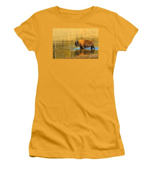 Women's T-Shirt (Junior Cut) featuring the photograph Yellowstone Solo Swimmer by Adam Jewell