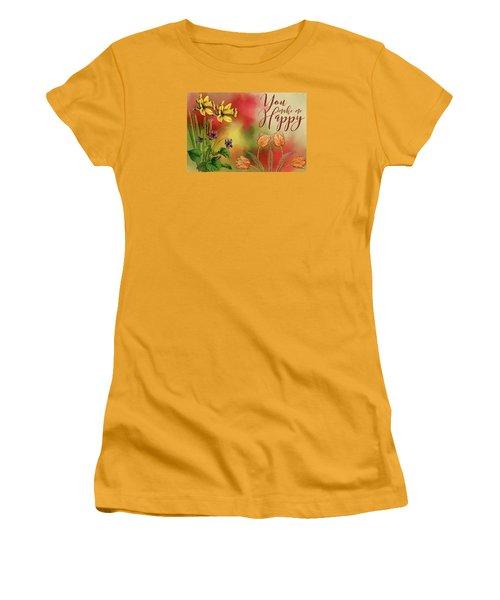 You Make Me Happy Women's T-Shirt (Junior Cut) by Diana Boyd