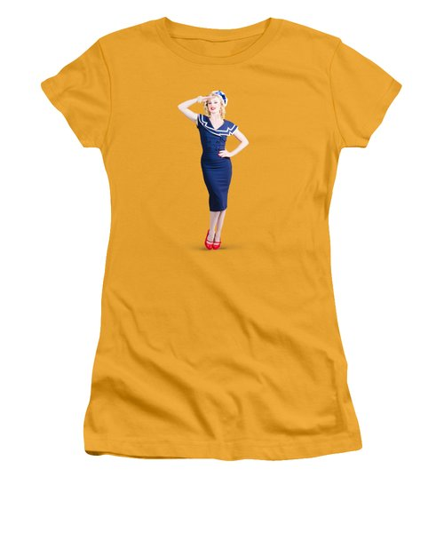 Young Retro Pinup Girl Wearing Sailor Uniform Women's T-Shirt (Athletic Fit)