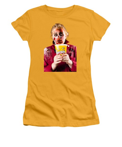 Zombie Woman Watching Scary Movie With Popcorn Women's T-Shirt (Athletic Fit)