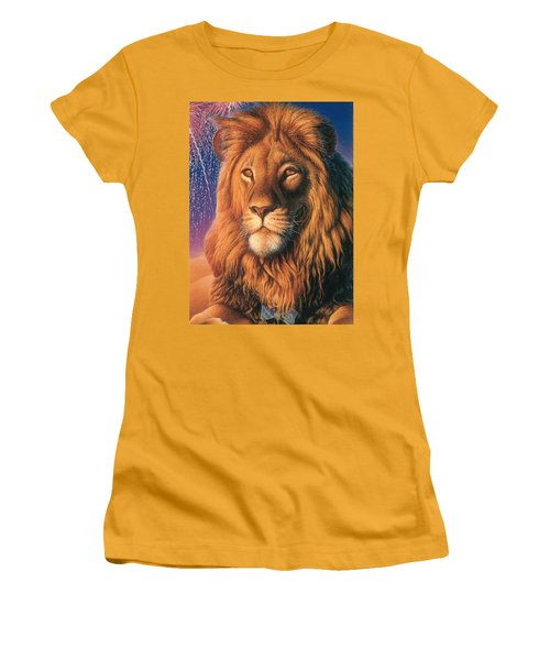 Zoofari Poster The Lion Women's T-Shirt (Junior Cut) by Hans Droog