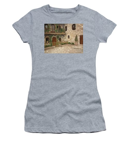 Greek Courtyard - Agiou Stefanou Monastery -balcony Women's T-Shirt