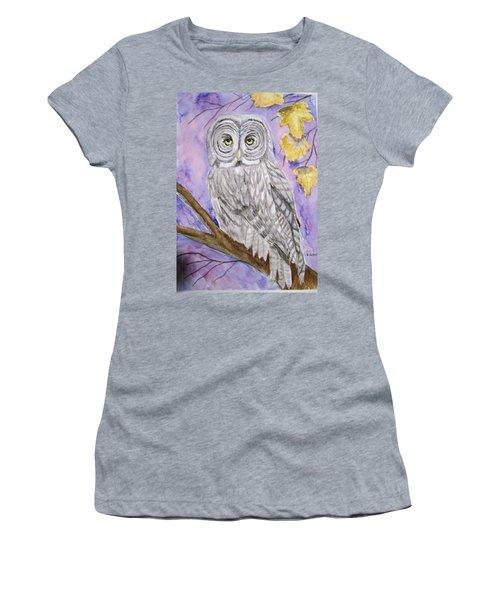Grey Owl Women's T-Shirt (Junior Cut) by Belinda Lawson
